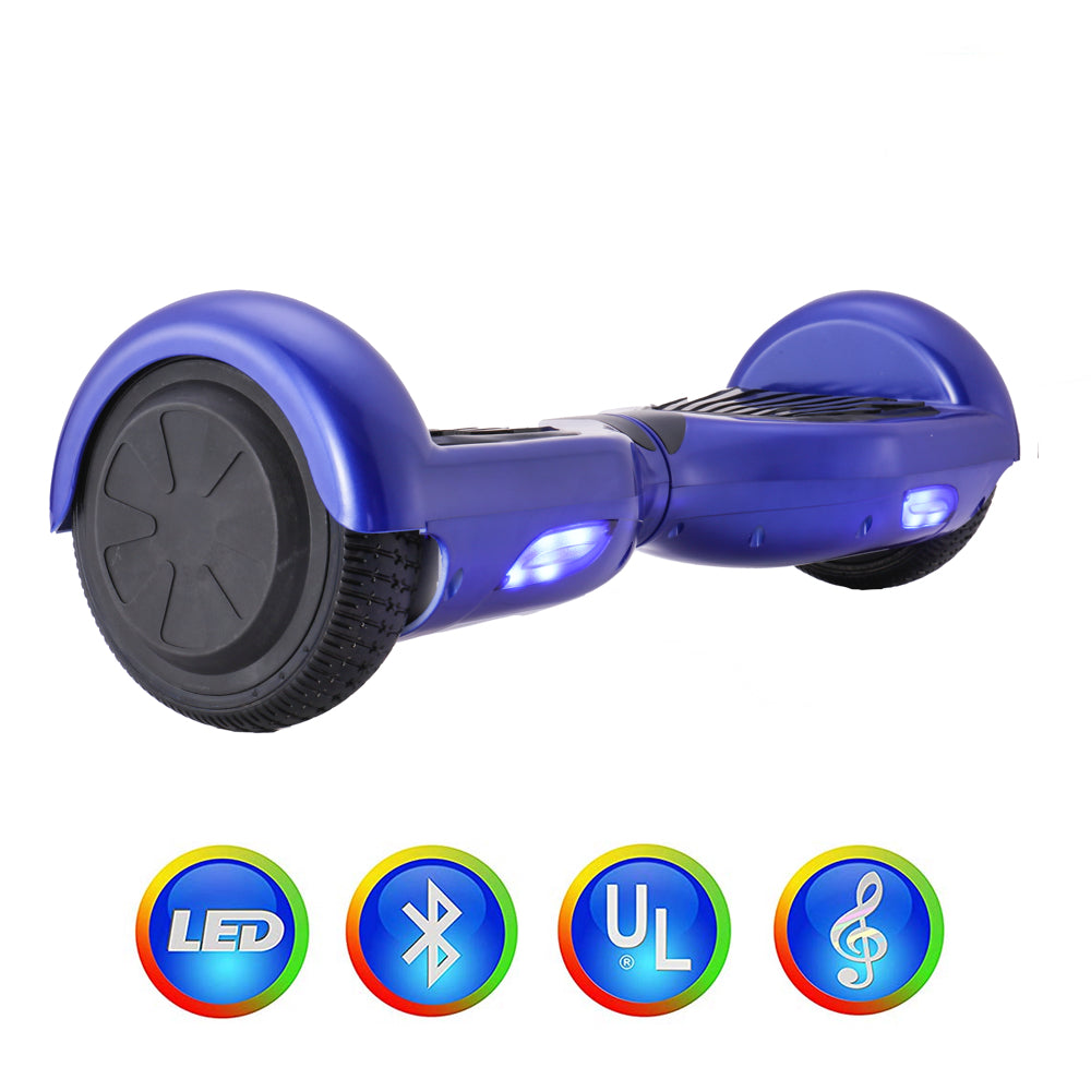 GlareWheel Blue Hoverboard With Built-In Bluetooth Speaker- UL2272 Certified