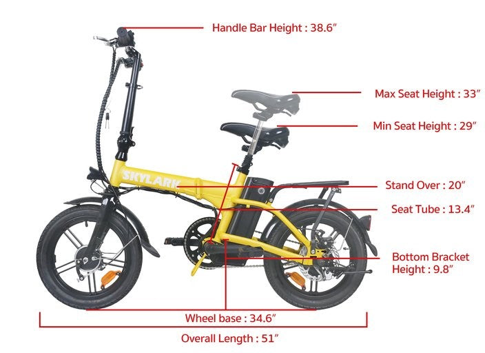 GlareWheel Foldable Electric Bike Urban Fashion High Speed 16mph Easy Carry EB-X6