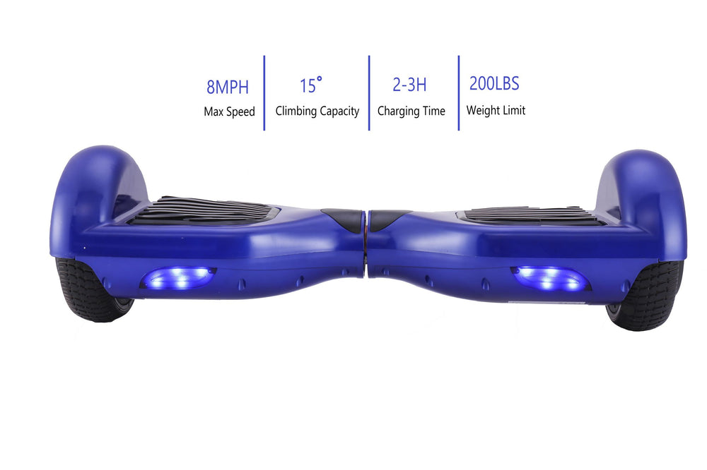 GlareWheel Blue Hoverboard Light Up Wheels Build In Bluetooth Speaker- UL2272 Certified
