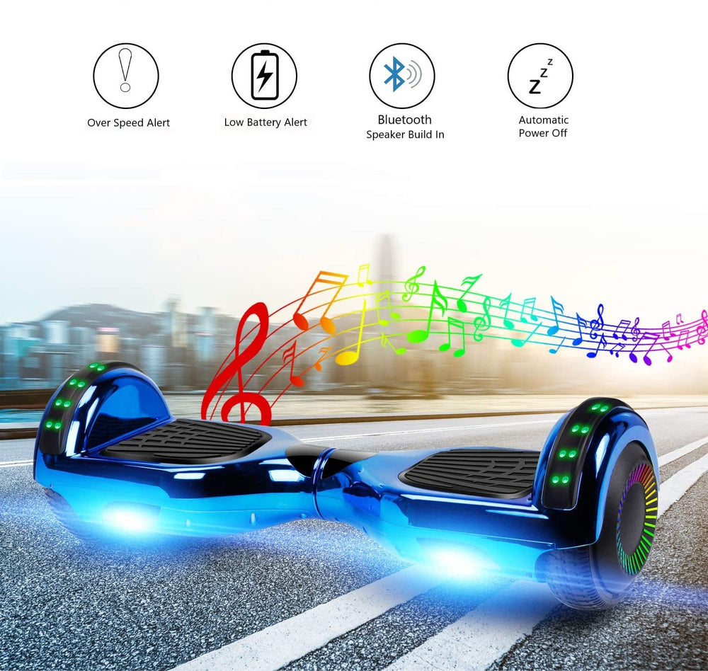 GlareWheel Chrome Blue Hoverboard With Built-In Bluetooth Speaker- UL2272 Certified
