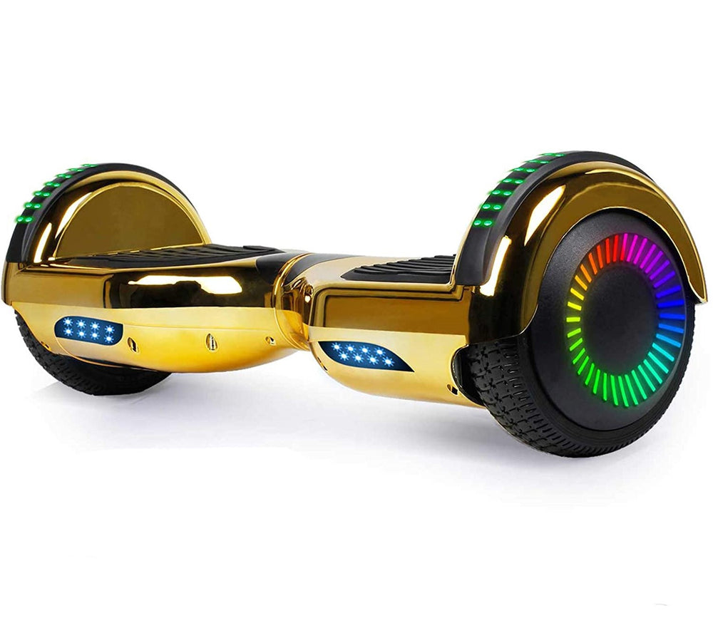 GlareWheel Chrome Gold Hoverboard With Built-In Bluetooth Speaker LED Light Up Wheel