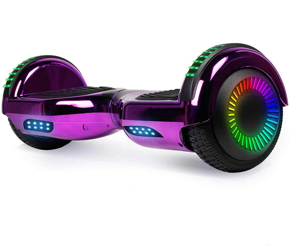 GlareWheel Chrome Purple Hoverboard With Built-In Bluetooth Speaker- UL2272 Certified
