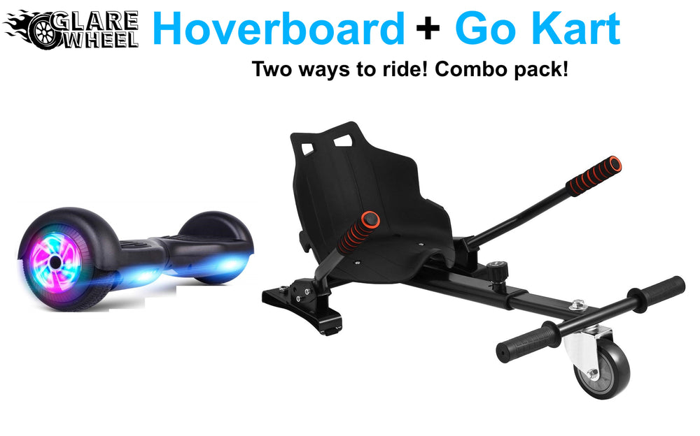 GlareWheel Hoverboard and Go-Kart Attachment Combo (2 piece set)