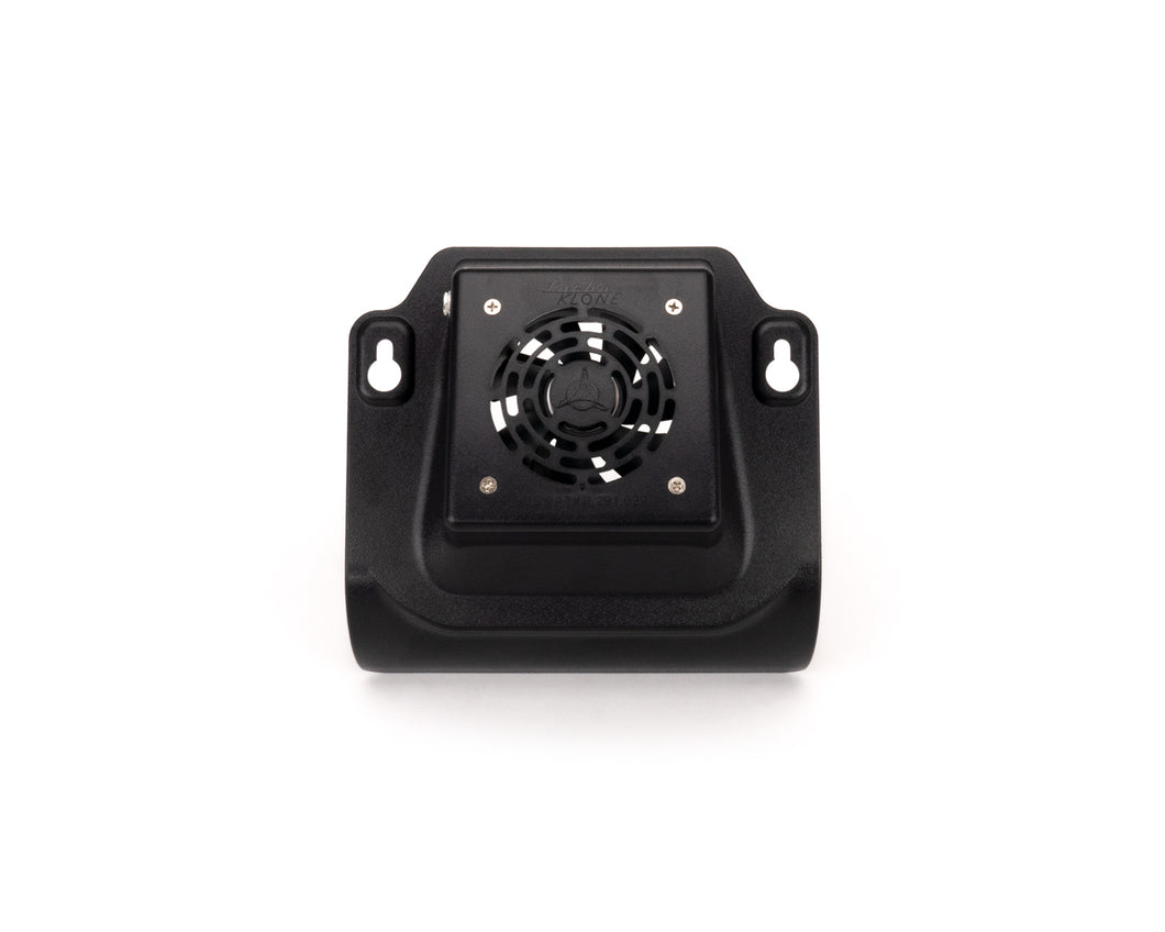 Small fan, encased in a black plastic frame with holes to secure to cloner body.