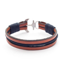 Magnus Nautical Italian Leather Anchor Men's Bracelets