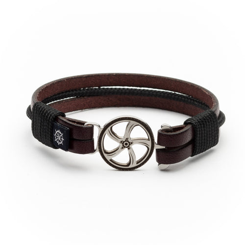 Denny - Mahogany Leather Black Rope Bracelet