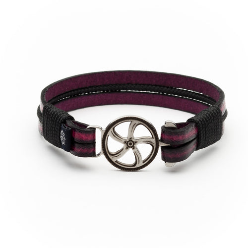 Kimi - Purple Leather Black Rope Bracelet