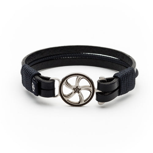 Nigel - Navy Leather & Rope Bracelet