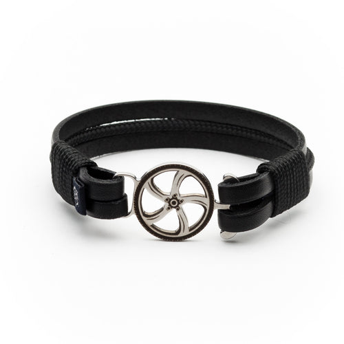 Hartley - Black Leather Black Rope Bracelet