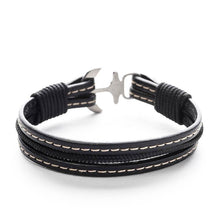 Bellerophon Nautical Italian Leather Anchor Men's Bracelets
