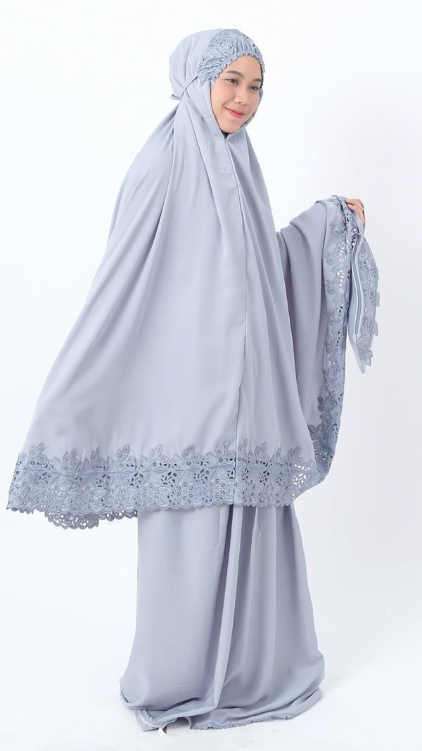 Mukena Khadija Attaya Soft Grey