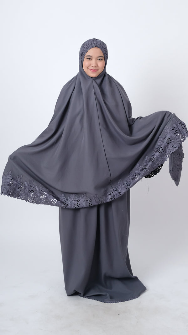 Mukena Khadija Attaya Dark Grey