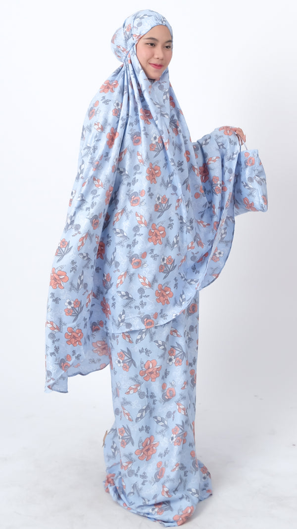 Nudfat Mukena Katun Motif Blue Orange Flower