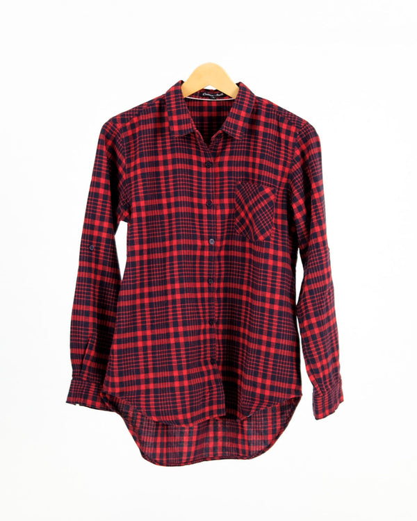 Ribca Flanel Shirt Black Red