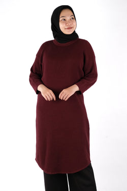 Helena Dress Knitwear Maroon