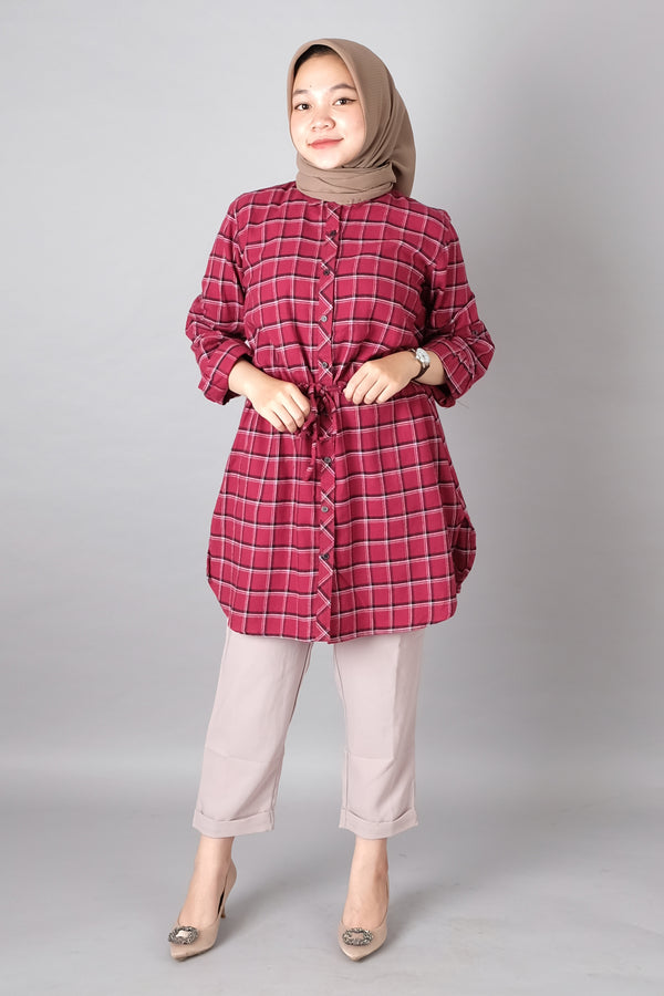 Raven Flannel Tunic Red