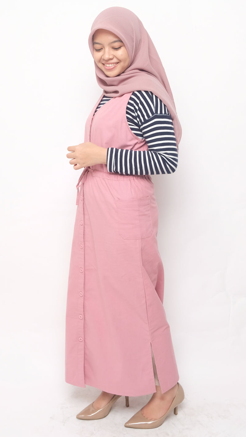 Cheryl Overall Dress Dusty Pink