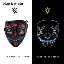 Load image into Gallery viewer, Mazkeen Halloween Mask Purge LED Mazkeen Sale blue and white