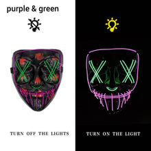 Load image into Gallery viewer, Mazkeen Halloween Mask Purge LED Mazkeen Sale purple and green