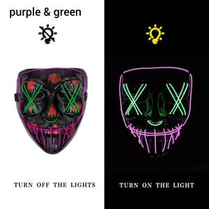 Mazkeen Halloween Mask Purge LED Mazkeen Sale purple and green