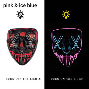 Mazkeen Halloween Mask Purge LED Mazkeen Sale pink and ice blue