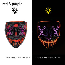 Load image into Gallery viewer, Mazkeen Halloween Mask Purge LED Mazkeen Sale red and purple