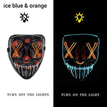 Load image into Gallery viewer, Mazkeen Halloween Mask Purge LED Mazkeen Sale ice blue and orange
