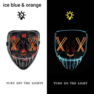 Mazkeen Halloween Mask Purge LED Mazkeen Sale ice blue and orange