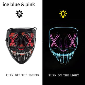 Mazkeen Halloween Mask Purge LED Mazkeen Sale ice blue and pink
