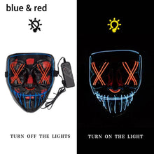 Load image into Gallery viewer, Mazkeen Halloween Mask Purge LED Mazkeen Sale blue and red
