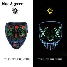 Load image into Gallery viewer, Mazkeen Halloween Mask Purge LED Mazkeen Sale blue and green