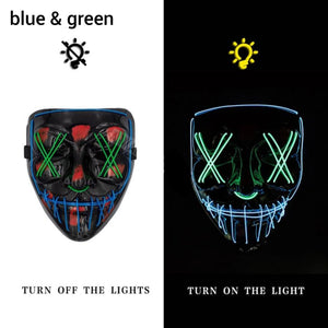 Mazkeen Halloween Mask Purge LED Mazkeen Sale blue and green