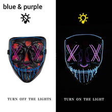 Load image into Gallery viewer, Mazkeen Halloween Mask Purge LED Mazkeen Sale blue and purple
