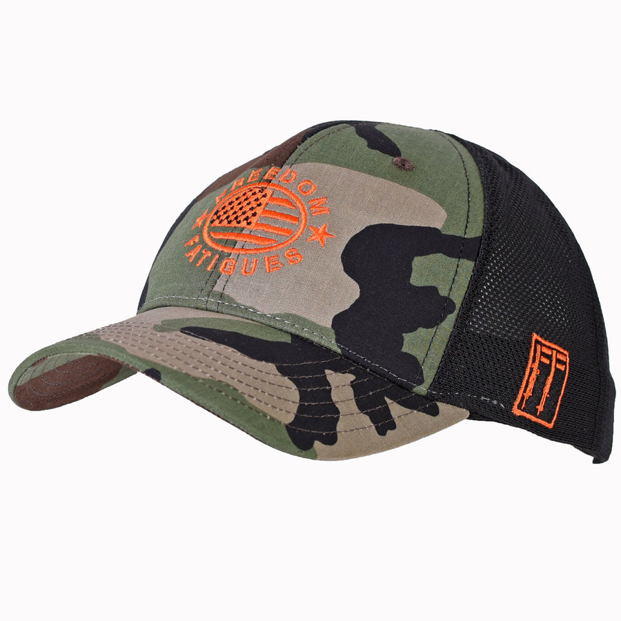 Branded Woodland Camo Ball Cap