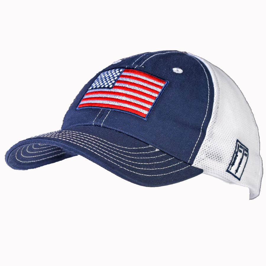 Navy & White Mesh-Back Range Hat