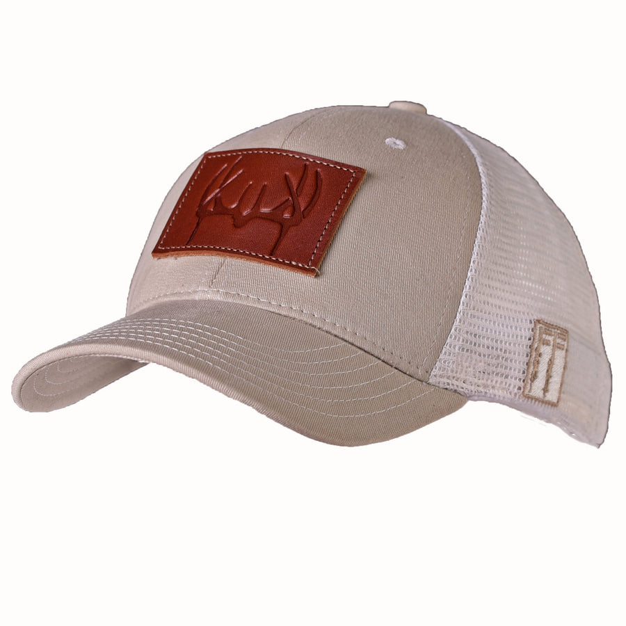 Antler Stamped Leather Patch Trucker Hat