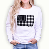 Women's Buffalo Plaid Flag Crewneck