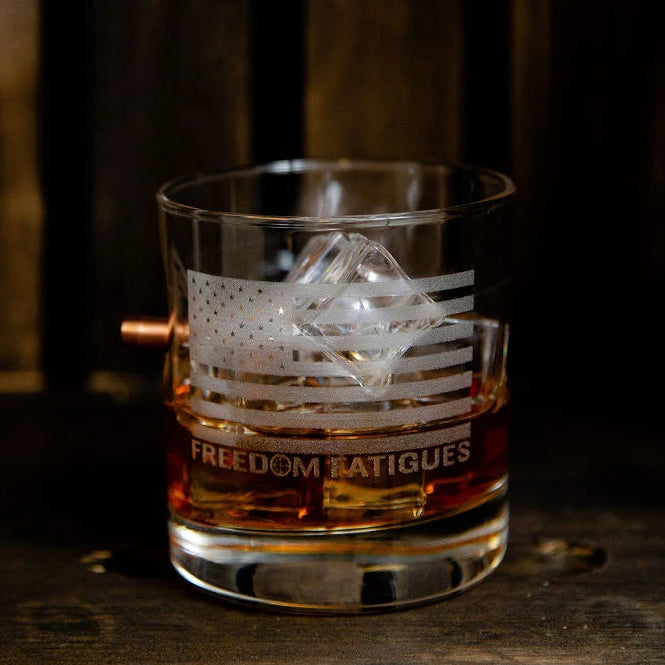 Handcrafted 11oz Whiskey Glass - Branded American Flag
