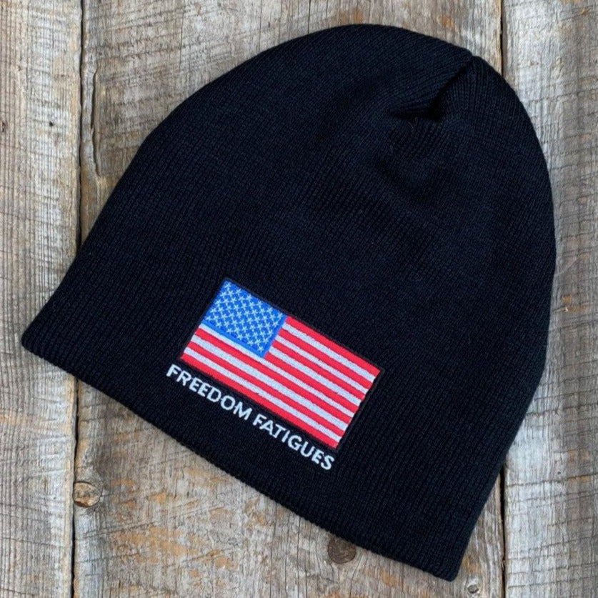 Black Full Color American Flag Beanie