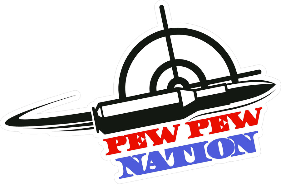 Pew Pew Nation Logo Sticker - 3""