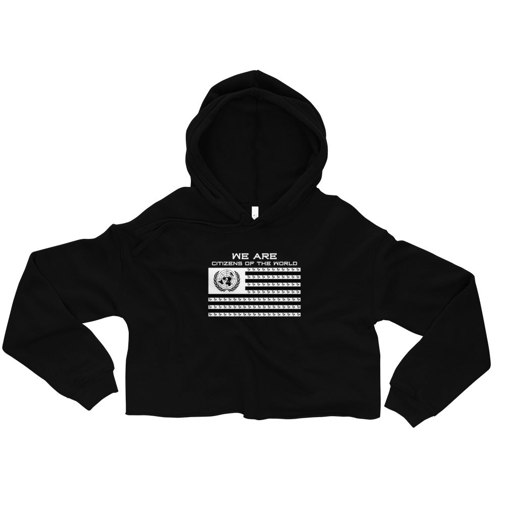 "Black ""Citizens of the World"" Cropped Hoodie"