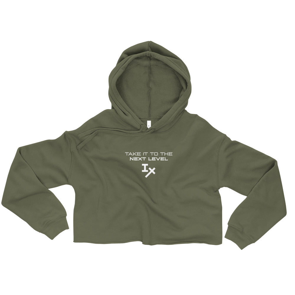 "Army Green ""Take it to the Next Level"" Cropped Hoodie"