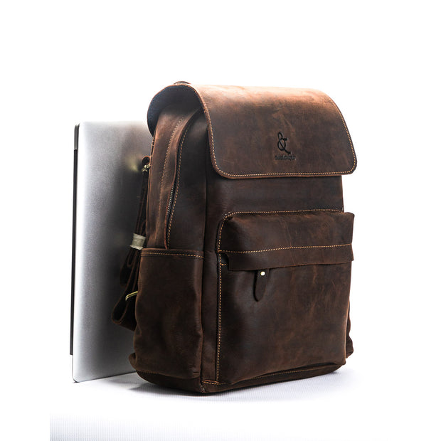 Bangalore Leather Backpack - Chocolate&Nut
