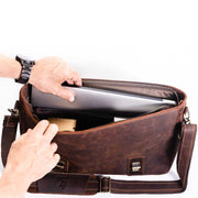 Sevilla Leather Briefcase - Chocolate&Nut