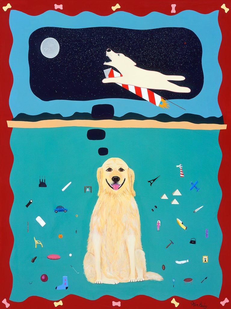 A GOLDEN RETRIEVER'S FANTASY - Whimsical art featuring a Golden Retriever by Ken Bailey
