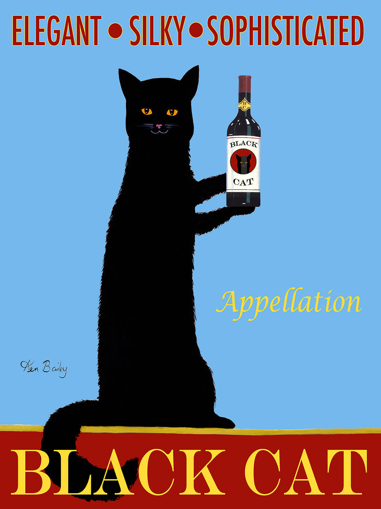 APPELLATION BLACK CAT WINE - Retro Vintage Advertising Art featuring a black cat with wine by Ken Bailey