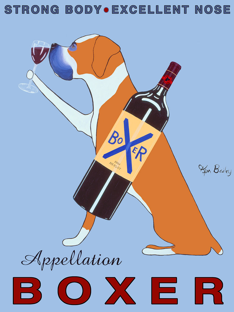 APPELLATION BOXER - Retro Vintage Advertising Art featuring a Boxer by Ken Bailey