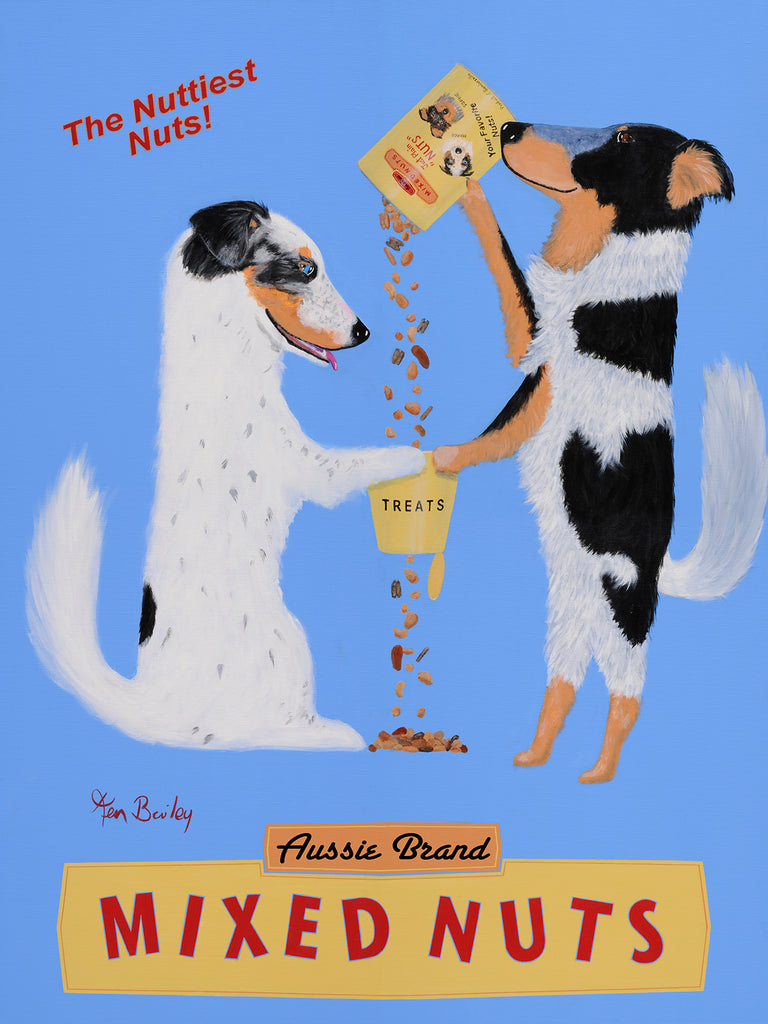 AUSSIE BRAND MIXED NUTS - Retro Vintage Advertising Art featuring Australian Shepherds by Ken Bailey