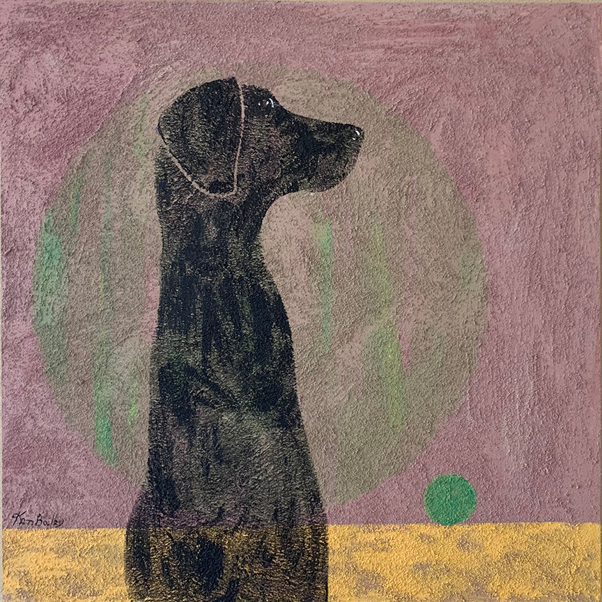BLACK DOG WITH TENNIS BALL - Original Painting