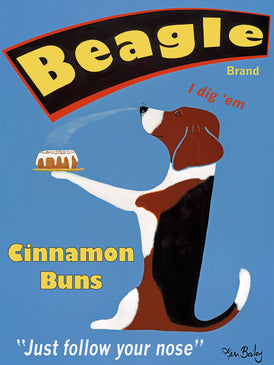 BEAGLE BRAND CINNAMON BUNS - Retro Vintage Advertising Art featuring a Beagle by Ken Bailey